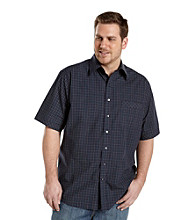 Synrgy Men's Big & Tall Navy/Green Short Sleeve Windowpane Plaid Woven