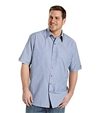 Synrgy Men's Big & Tall Blue/Yellow Short Sleeve Bengal Stripe Shirt