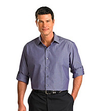 Synrgy Men's Big & Tall Navy/Purple Roll-Sleeve Bengal Stripe Shirt