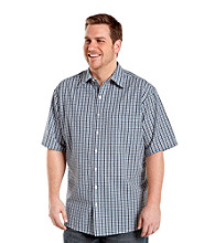 Harbor Bay® Men's Big &Tall Navy Short Sleeve Seersucker Check Shirt