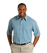 Harbor Bay® Men's Big & Tall Green/Blue Short Sleeve Seersucker Check Shirt