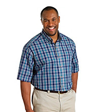 Harbor Bay® Men's Big & Tall Dark Blue/White Short Sleeve Easy-Care Plaid Shirt