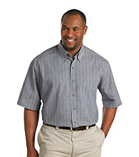 Harbor Bay® Men's Big & Tall Navy Short Sleeve Easy-Care Plaid Shirt