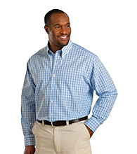 Oak Hill® Men's Big & Tall Blue/White Continuous Comfort Long Sleeve Frame Gingham Shirt