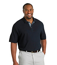 Oak Hill® Men's Big & Tall Midnight Chambray Trim Pique Polo