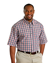 Harbor Bay® Men's Big & Tall Pink Multi-Plaid Easy-Care Short Sleeve Shirt