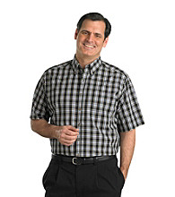 Harbor Bay® Men's Big & Tall Easy-Care Black Multi-Plaid Short Sleeve Shirt