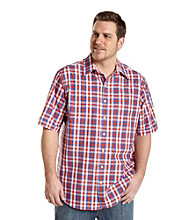 Synrgy Men's Big & Tall Blue Multi-Plaid Short Sleeve Shirt