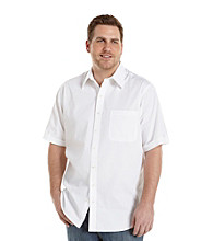 Synrgy Men's Big & Tall White Short Sleeve Textured Sport Shirt