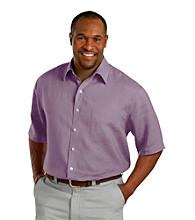 Oak Hill® Men's Big & Tall Short Sleeve Solid Linen Shirt