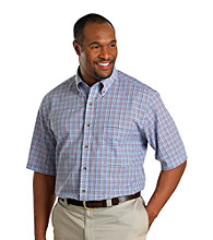 Harbor Bay® Men's Big & Tall Blue/Pink Multi-Plaid Short Sleeve Shirt