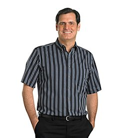 Harbor Bay® Men's Big & Tall Easy-Care Pewter Multi-Stripe Short Sleeve Shirt