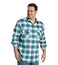 True Nation™ Men's Big & Tall Blue Long Sleeve Western Ombre Plaid Shirt