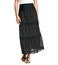 Studio West Stretch Crochet Waistband Long Skirt