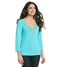 Ruby Rd.® Embellished V-neck Top