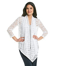 Ruby Rd.® Shawl Collar Zig Zag Crochet Lace Cardigan
