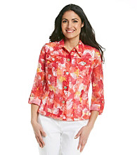 Ruby Rd.® Sheer Hibiscus Print Shirt