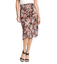 Notations® Allover Print Asymmetrical Skirt