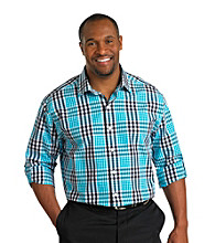 Synrgy Men's Big & Tall Navy Roll-Sleeve Plaid Shirt