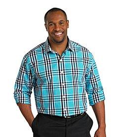 Synrgy Men's Big & Tall Navy Roll-Sleeve Plaid Shirt