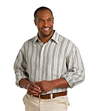 Oak Hill® Men's Big & Tall Natural Black Long Sleeve Stripe Linen Shirt