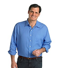 Oak Hill® Men's Big & Tall Periwinkle Long Sleeve Solid Linen Shirt