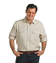 Oak Hill® Men's Big & Tall Oatmeal Roll-Sleeve Solid Linen Shirt