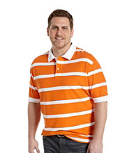 Harbor Bay® Men's Big & Tall Orange/White Short Sleeve Stripe Pique Polo