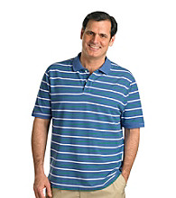 Harbor Bay® Men's Big & Tall Blue/Green Short Sleeve Alternate Stripe Polo