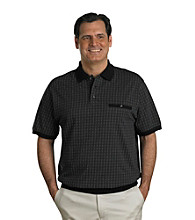 Harbor Bay® Men's Big & Tall Black/Grey Short Sleeve Check Grid Banded Bottom Polo