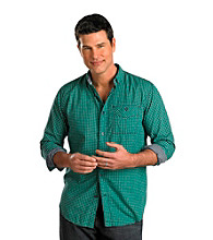 Nautica Jeans Co. Men's Big & Tall Spinner Green Long Sleeve Gingham Poplin Shirt