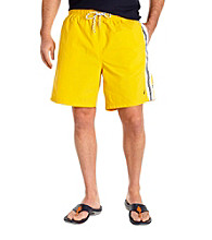 Nautica® Men's Big & Tall Yellow Full Elastic Swim Trunk with Side Stripe
