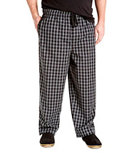 Harbor Bay® Men's Big & Tall Black Grid Woven Lounge Pant