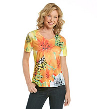 Breckenridge® Orange Poppy V-neck Sublimation Tee