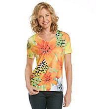 Breckenridge® Petites' Orange Poppy V-neck Sublimation Tee
