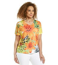 Breckenridge® Plus Size Orange Poppy V-neck Sublimation Tee