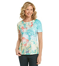 Breckenridge® Floral Print Lace Sublimation Tee