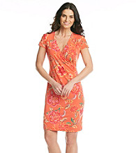 Jones New York Signature® Orange Floral Faux Wrap Dress
