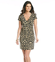 Jones New York Signature® Black And Sand Patterned Faux Wrap Dress