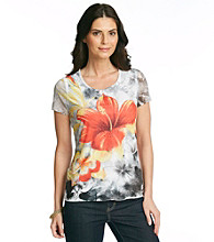 Laura Ashley® Hibiscus Floral Mesh Sublimation Tee