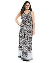 Oneworld® Plus Size Printed Embellished Maxi Dress