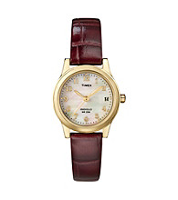 Timex® Women's Gold-Tone Case, Mother-Of-Pearl Dial, Burgundy Leather Strap