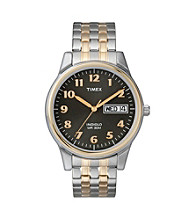 Timex® Men's' Black Dial with Day/Date, Two-Tone Expansion Band