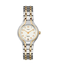 Timex® Women's White Dial, Two-Tone Stainless Steel Bracelet