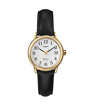 Timex® Women's Easy-To-Read Dial with Black Leather Strap