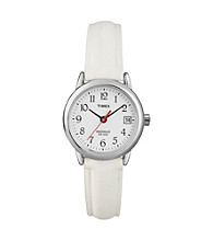 Timex® Women's Easy-To-Read Dial with White Leather Strap