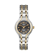 Timex® Women's Charcoal Dial Two-Tone Stainless Steel Bracelet