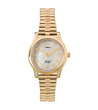 Timex® Women's Mother-Of-Pearl Dial, Gold-Tone Expansion Band