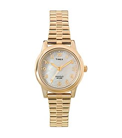Timex® Women's Mother-of-Pearl Dial Watch with Goldtone Expansion Band
