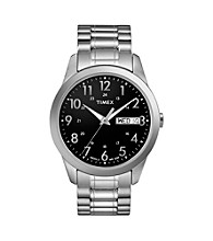 Timex® Men's Black Dial with Day/Date, Silver-Tone Expansion Band